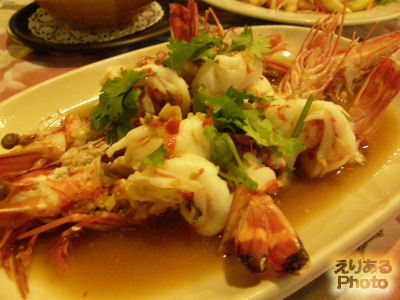 STEAMED TIGER PRAWN WITH GARLIC CHILI, LEMON SAUCE